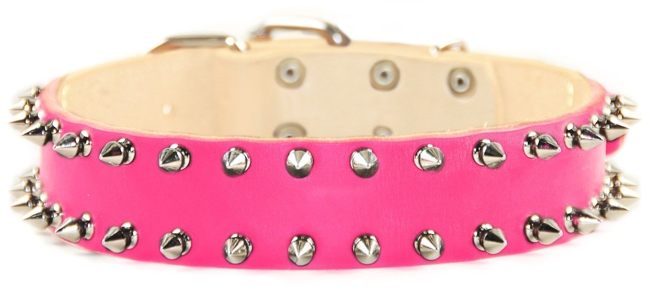 Dean & Tyler Leather Dog Collar  SPIKE TIME  Size 18 Inch By 1 1 2 Inch Width Pink. Will Fit Neck Size 16 Inches to 20 Inches.