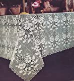 Vintage Crochet Pattern to make - Rose Filet Tablecloth Motif. NOT a finished item. This is a pattern and/or instructions to make the item only.