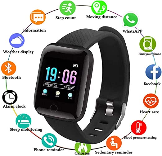 Huifen Activity Watch IP67 Waterproof, Fitness Tracker Health Exercise Watch with Heart Rate Blood Pressure Sleep Monitor Strap Bracelet Smart Band ...