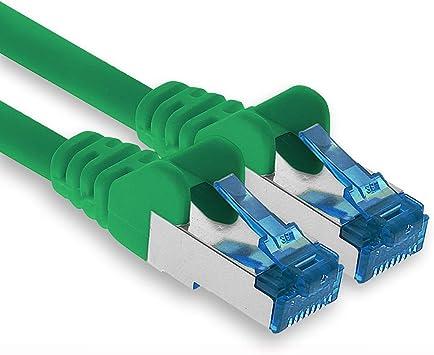 1 pi/èce C/âble r/éseau Ethernet Gigabit LAN RJ45 Cat 6 A c/âble Patch 10000 Mbit s Sftp Pimf 500 MHz Compatible CAT5 CAT6 CAT7 Cat7 Cat8 Noir Cat.6 1aTTack.de 2m