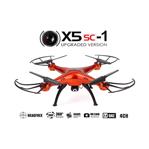Syma X5SC/X5SC-1 Falcon Drone HD 2.0MP Camera 4 Channel 2.4G Remote Control Quadcopter 6 Axis 3D Flip Fly UFO 360 Degree Eversion With 4GB SD Card (Red)