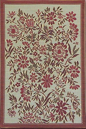 Duracord Outdoor Rug (Mad Mats Wildflowers Indoor/Outdoor Floor Mat, 4 by 6-Feet, Cranberry)