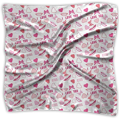 (Bandana Head and Neck Tie Neckerchief,Romance Related Images In Pink Pattern With Bows Lips Valentines Hearts,Headband)