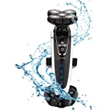 LKELEC電動シェーバー 水洗い電動メンズシェーバー4D回転式電動メンズシェーバー充電シェーバー 五刃センソタッチ密着ヘッド 本体丸洗い可能・お風呂剃り可・急速充電可・肌にやさしい・省電力・静音・頑丈 IPX7級防水基準き