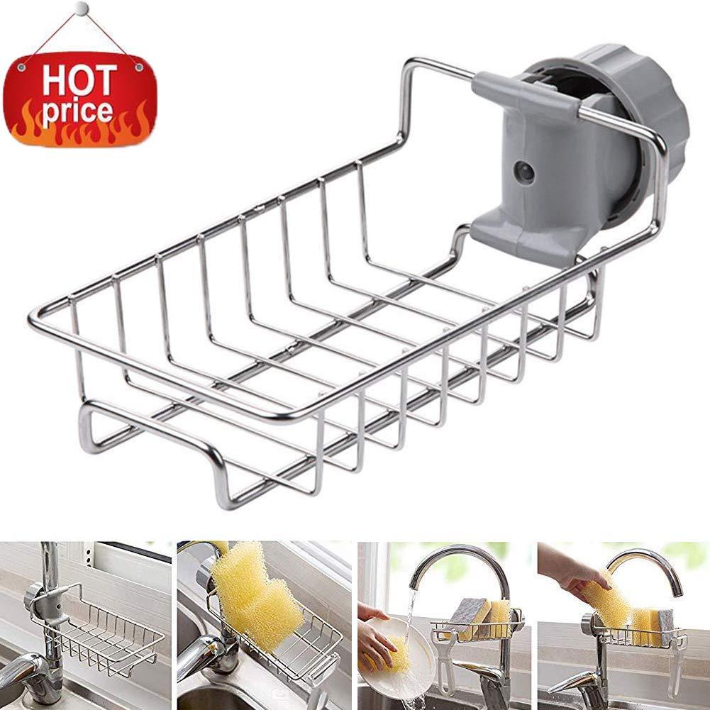 Kitchen Faucet Sponge Holder,Stainless Steel Faucet Storage Rack,Kitchen  Sink Organizer Drainer Caddy for Dishwashing Accessories or Bathroom Kitchen