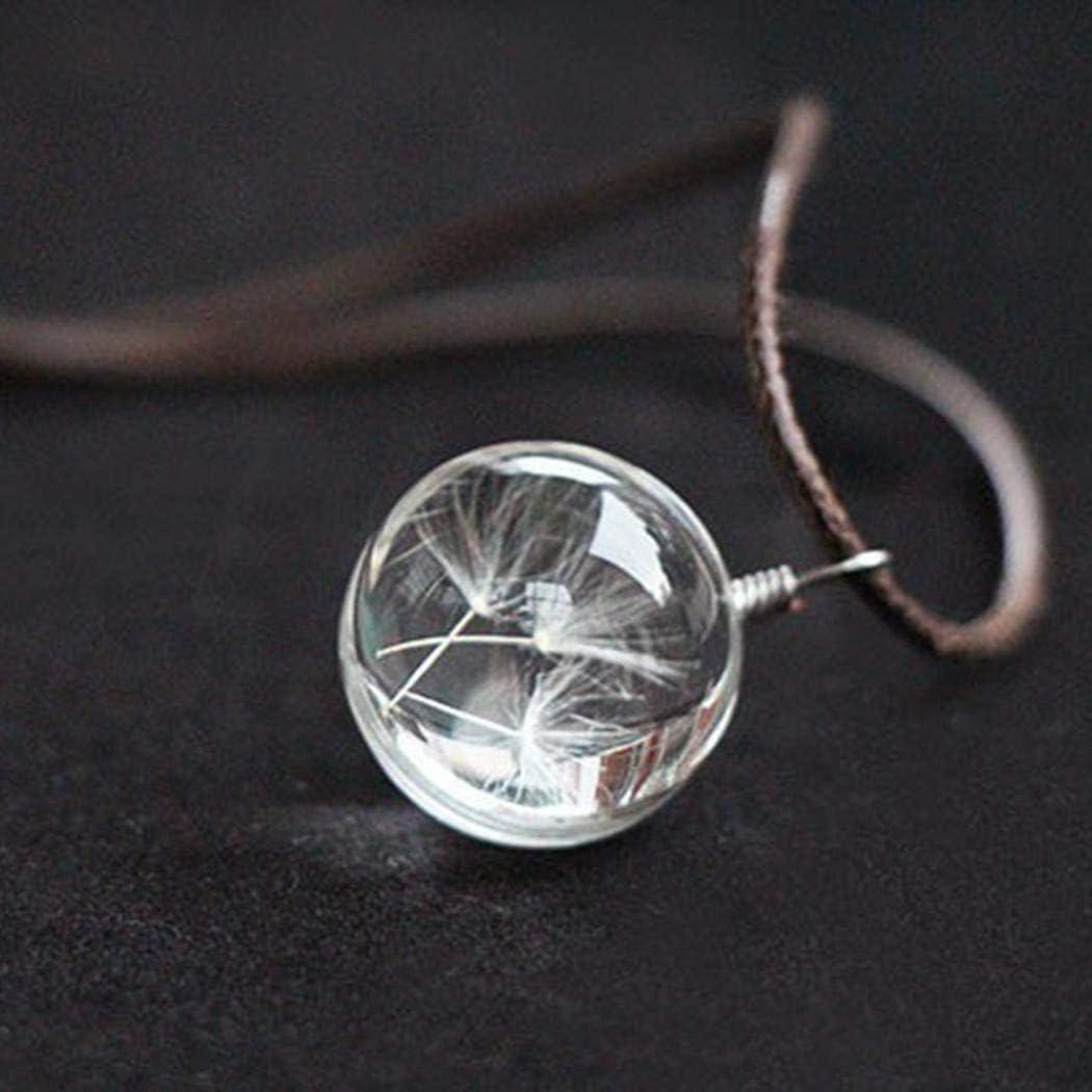 RIBITENS Women Men Creative Crystal Ball Dandelion Pendant Necklace Natural Dried Flower Pendant Chain Gift Necklaces
