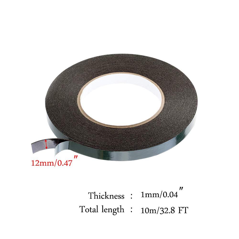 12 mm x 10 m x 1mm HO2NLE 2 Rouleux Ruban/Mousse Double Face Ruban/Adh/ésif/Mousse Extra/Fort Ruban Eponge Noire Isolant Etanche Anti Chocs Chaleur Thermique