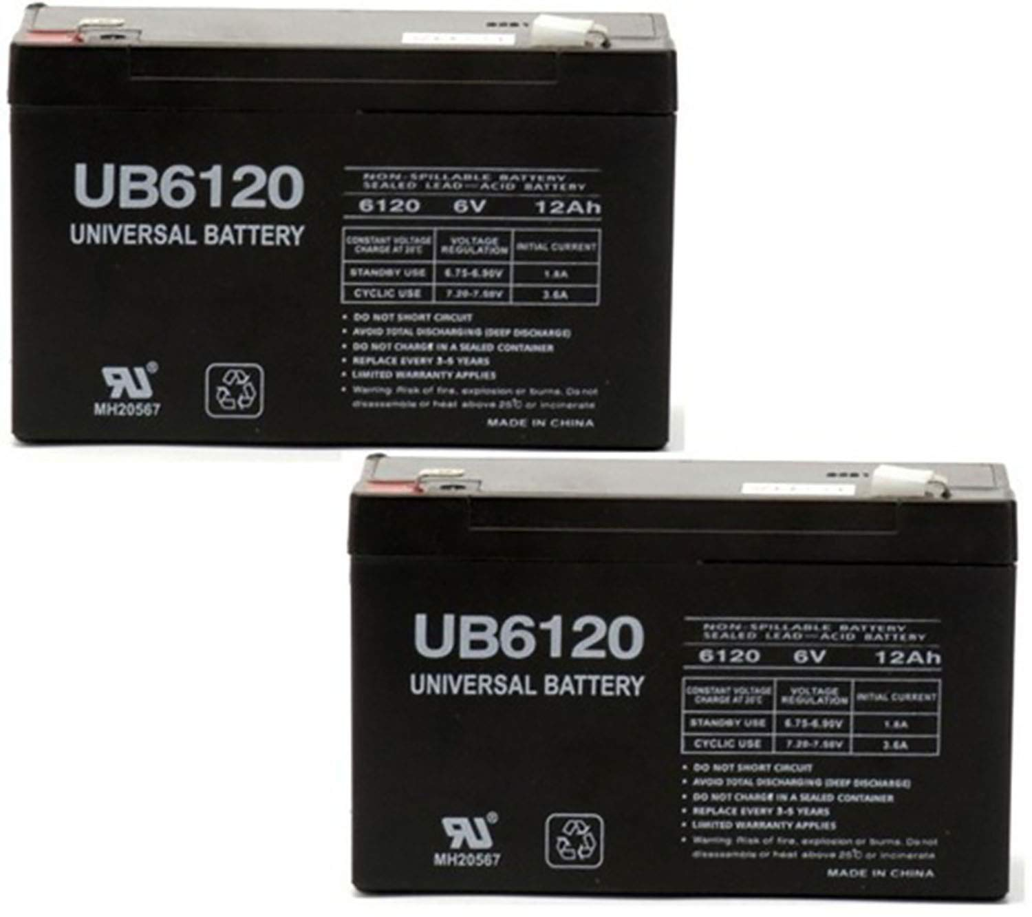 Universal Power Group UB6120 6V 12Ah LC-R0612P ES812 PS-6120 MX06100 Battery - 2 Pack