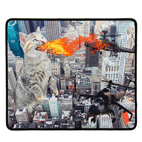 Crazy Mouse Pad (Funny Large Cat Gaming Mouse Pad with Giant Mutated Fire Breathing Cat Destroying City (12.6 x 10.6 inches) by ENHANCE - Novelty Extended Mouse Mat with Anti-Fray Stitching , Non-Slip Rubber Base)