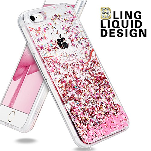 Yokata iPhone 6 Plus / iPhone 6s Plus Hülle Transparent Glitzer Flüssig Liquid Handyhülle Rosa Pink Weiche Silikon TPU Bumper 3D Schutzhülle mit Diamant Stoßfest Kratzfeste Hardcase Klar Hart Backcove