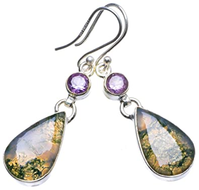 Natural Purple Amethyst Long Earrings 925 Sterling Silver Mild And Mellow Jewelry & Watches Gemstone