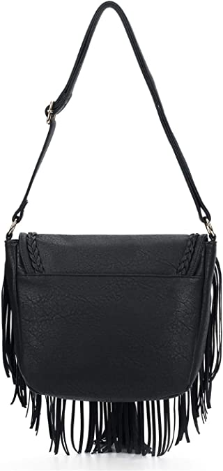 HEARTY TRENDY FAUX LEATHER SADDLE SHOULDER BAG WITH TASSEL