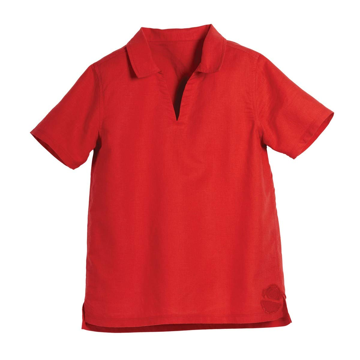 Beachcombers Kids Red Linen Cotton V-Neck Collar Short Sleeve Polo Shirt Apparel Extra Large