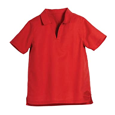 ff8805bb5fe01 Amazon.com  Beachcombers Kid s Red Linen Cotton V-Neck Collar Short ...