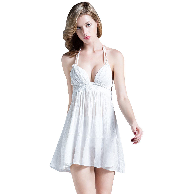 SUNNOW® Damen Sommerkleid Strandkleid Neckholder tief V-Ausschnitt Rückenfrei Partykleid Abendkleid Cocktailkleid