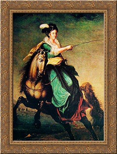 Retrato equestre de Carlota Joaquina of Spain 24x20 Gold Ornate Wood Framed Canvas Art by Domingos Sequeira