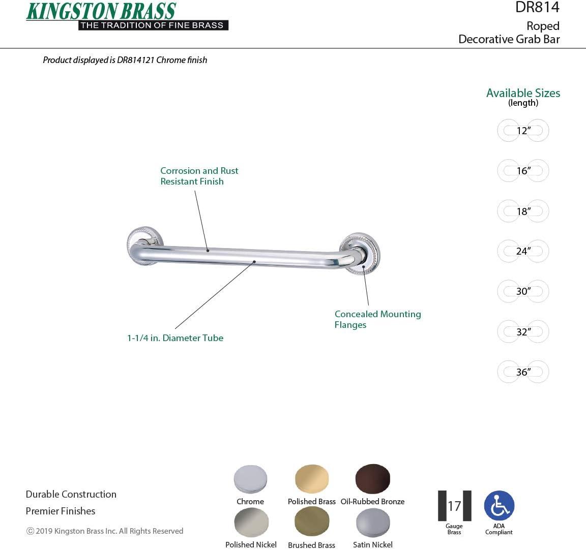 Kingston Brass DR814245 Designer Trimscape Laurel Decor 24-Inch Grab Bar with 1.25-Inch Outer Diameter Oil Rubbed Bronze