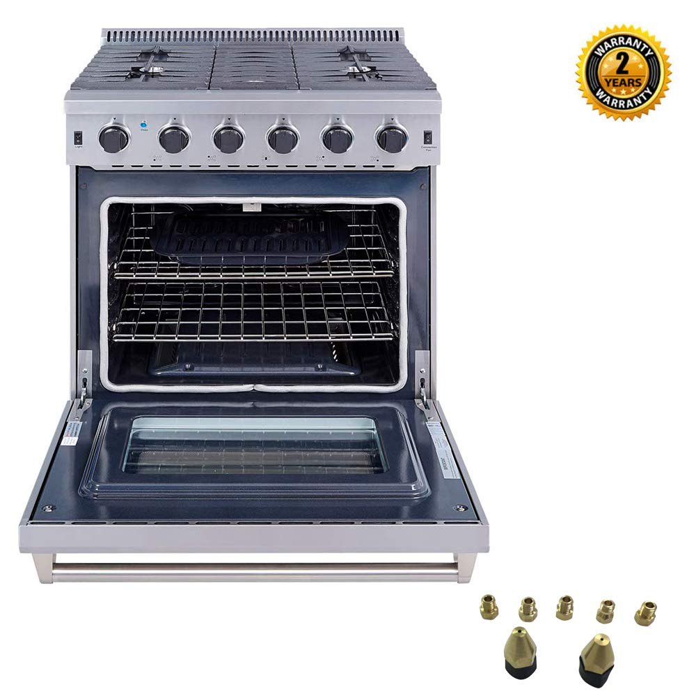 Thor Kitchen 30 inch Freestanding Pro-Style Gas Range with 4.55 cu.ft. Oven, 5 Burners, in Stainless Steel - LRG3001U + LP Kit by Thor Kitchen