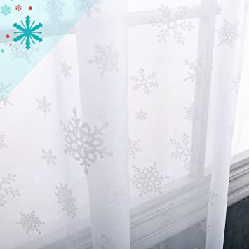 White Sheer Curtains For Living Room Christmas Holiday Snowflake Decorative Voile Window Treatment Set Bedroom