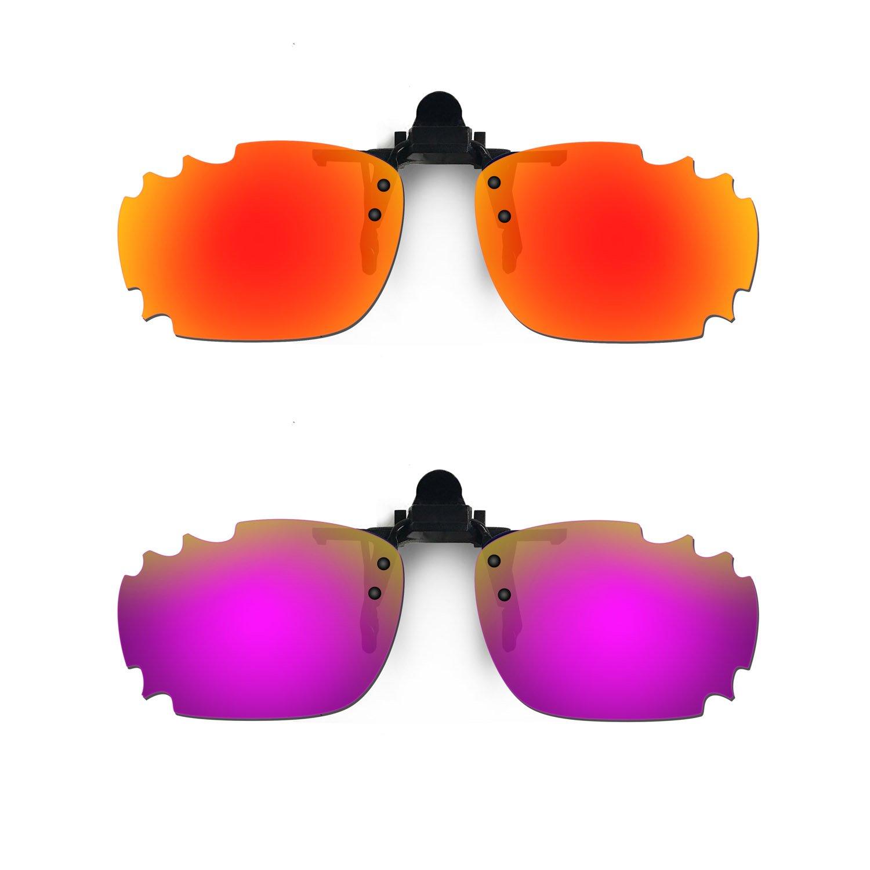 HKUCO Sunglasses Clip Red//Purple Polarized Lenses For Myopia Frame Clip Polarized Lenses UV400 Protect