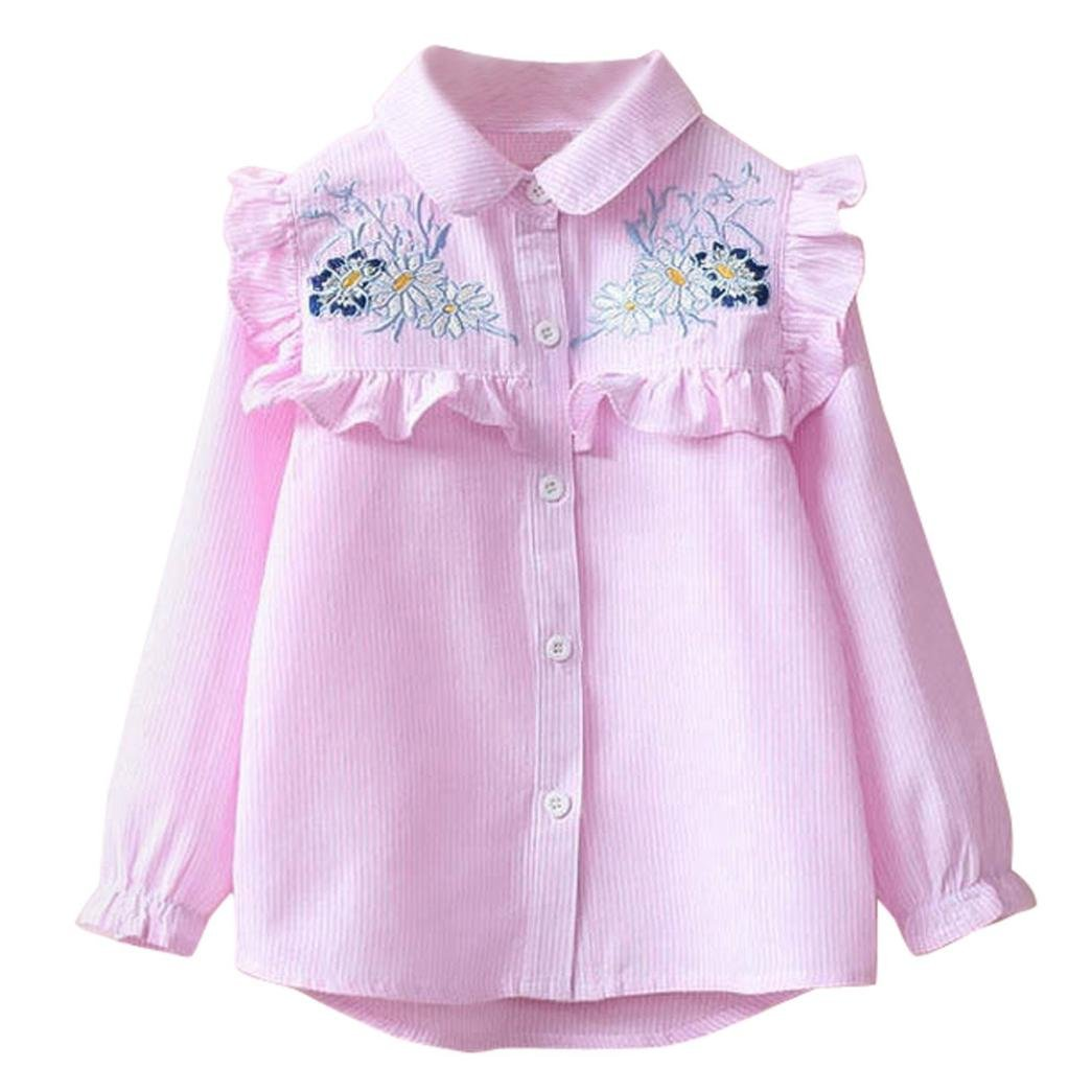 LNGRY Children's Baby Girls Kids Toddler Stripe Embroidery Floral Shirt Blouse