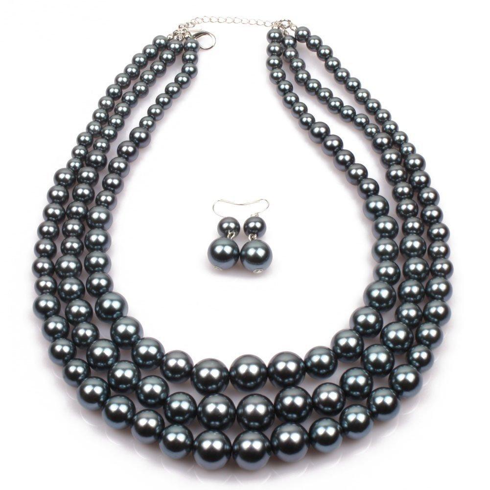 Noir Collier Longue Perle Forme Cha/îne de Chandail