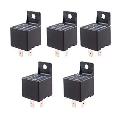 ESUPPORT Car Relay 12V 40A SPST 4Pin Switch Automotive Pack of 5: Automotive