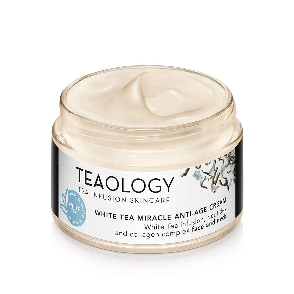 Teaology White Tea Miracle Anti-Age Cream | 100% Vegan with Peptides + Collagen Complex | Reduce Wrinkles + Firm Contour