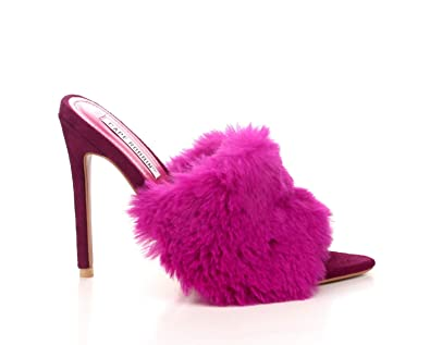 520beb5f2 Cape Robbin Savage Magenta Fuchsia Pointy Peep Toe High Furry Mule Stiletto  Pump (6)