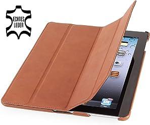 StilGut Couverture, custodia in vera pelle per il Apple iPad 3 & iPad 4 con funzione di supporto e smart cover, cognac vintage