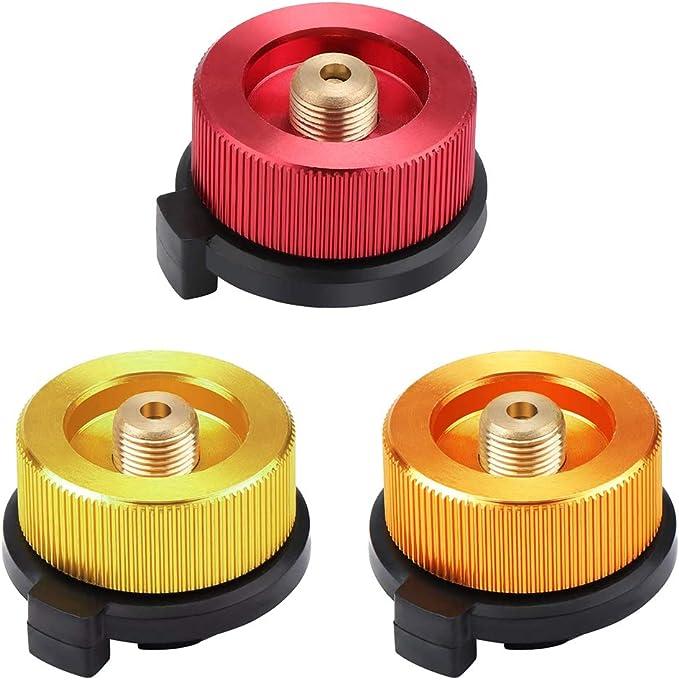 GOODGDN Conector de Estufa de Camping Adaptador de Botella de Gas Convertidor de Horno de Tipo Dividido para Cartucho de butano para atornillar ...