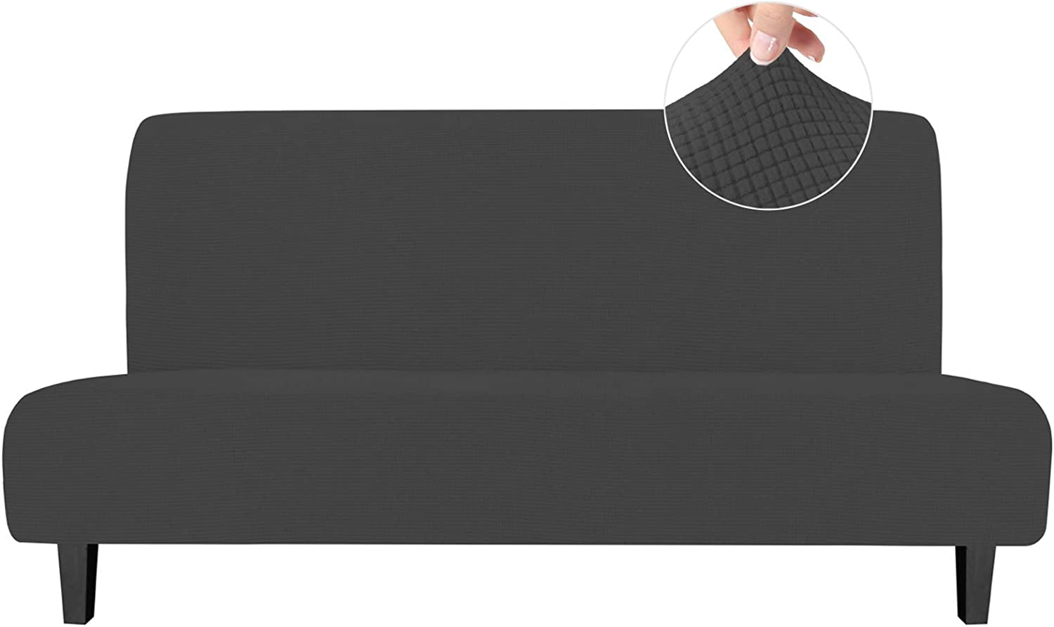 Easy-Going Stretch Sofa Slipcover Armless Sofa Cover Furniture Protector Without Armrests Slipcover Soft with Elastic Bottom for Kids, Spandex Jacquard Fabric Small Checks(futon,Dark Gray): Home & Kitchen