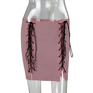 Faldas Midi Mujer Verano sólido de Cintura Alta Simple Skater ...