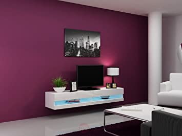 Concept Muebles 80 Inch Seattle High Gloss LED TV Stand   White