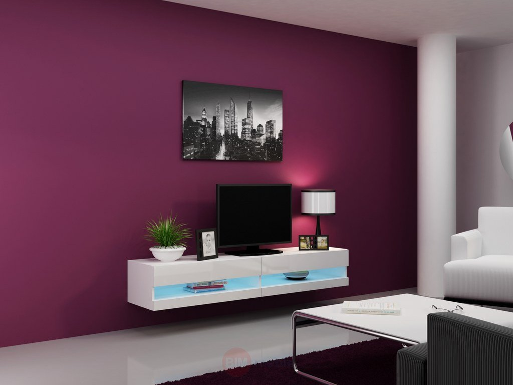 Concept Muebles 80 Inch Seattle High Gloss LED TV Stand - White
