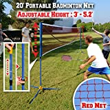BenefitUSA Portable Badminton Net Volleyball Tennis Net w Stand for Family Sport (20ft)