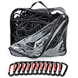 "4x6 Super Duty Bungee Cargo Net for Truck Bed Stretches to 8x12 | 12 Tangle-free D Clip Carabiners | Small 4""x4"" Mesh Holds Small and Large Loads Tighter"