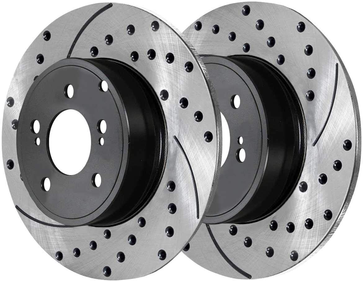 AutoShack BRAKEPKG053 Front and Rear Drilled and Slotted Brake Rotors and Ceramic Pads