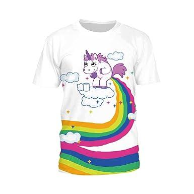 Mujeres Súper Premium Manga Corta Camiseta 3D Estampado Adorable Unicornio Cuello Redondo Camisa, C1-XXXL: Amazon.es: Ropa y accesorios