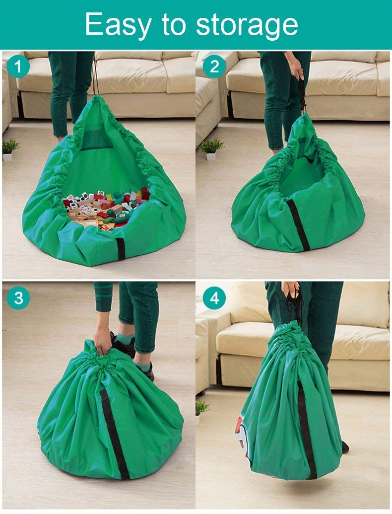 150cm - Portable Child Toy Organizer Funky Planet Toy Storage Bag for Lego Organizer Bags Children Play Mat 60 inch Light Green