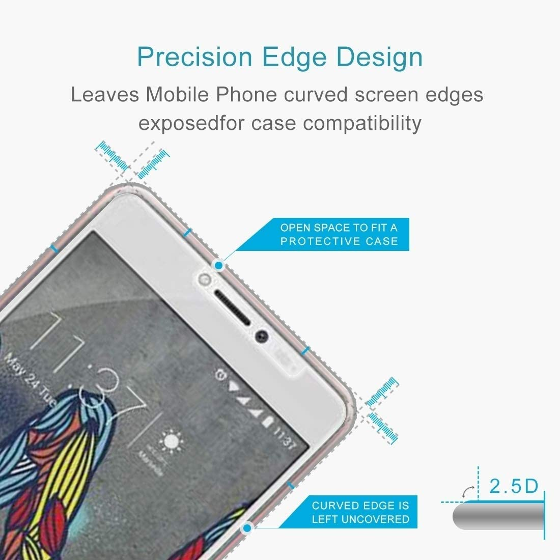 Lihuoxiu Phone Screen Protectors 100 PCS for Wiko U Feel Fab 0.26mm 9H Surface Hardness Explosion-Proof Non-Full Screen Tempered Glass Screen Film