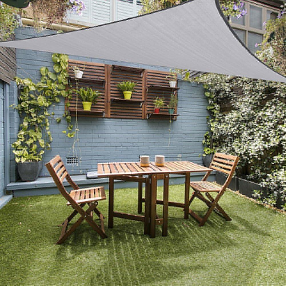 Toldo Triangular Terra con Bloque de Rayos UV, 25, 4 x 25, 4 cm x 25, 4 cm, con Kit de Herramientas de Acero Inoxidable para Patio, césped, jardín al Aire Libre, Grey 8: Amazon.es: Jardín