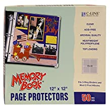 C-Line Memory Book Top-Load Page Protectors, 12-Inch-by-12-Inch-3-Ring and Post bound Use, Clear 50/Box(62227)