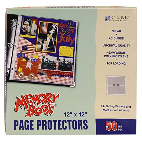 C-Line Memory Book 12 x 12 Inch Scrapbook Page Protectors, Clear Poly, Top Load, 50 Pages per Box -