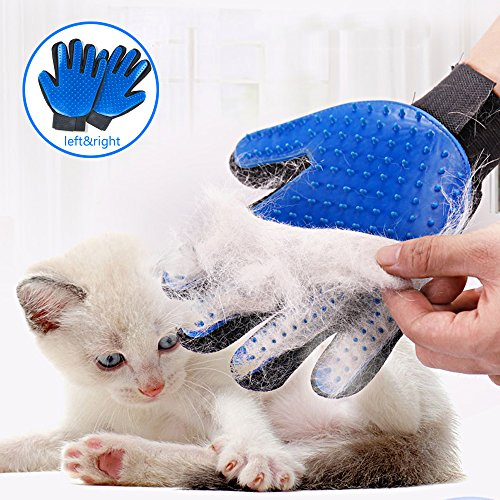 Pet Grooming Glove Hair Remover Brush Gentle Deshedding Efficient Pet Mitt Pet massage gloves Left & Right Hand for Dogs Cats Horses with Long or Short Fur (Blue,1 Pair)
