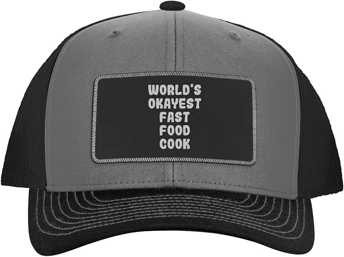 One Legging it Around World's Okayest Fast Food Cook - Leather Black Patch Engraved Trucker Hat