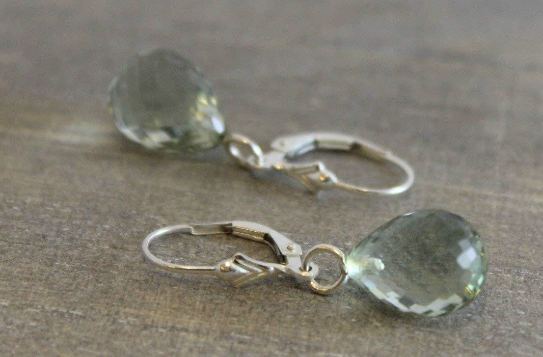 Prasiolite Green Amethyst Briolette Drop Sterling Silver Leverback Earrings Silver Earrings Gemstone Earrings Gifts for Her