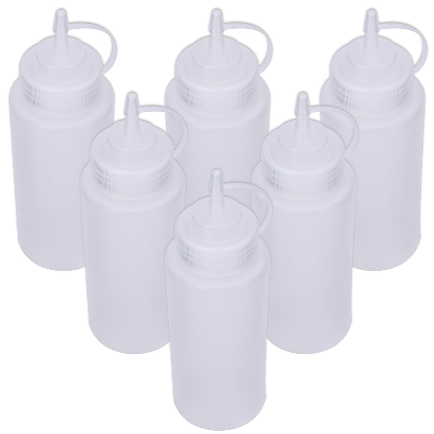 Squeeze Bottle Set [5-Pack] with Tip Cap, Plastic Squirt Bottles with Cap for Sauce/Condiment Dispenser (150ml) Food Dispensers-150ml