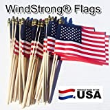 Lot of -50- 4x6 Inch US American Hand Held Stick Flags Spear Top WindStrong® Made in the USA