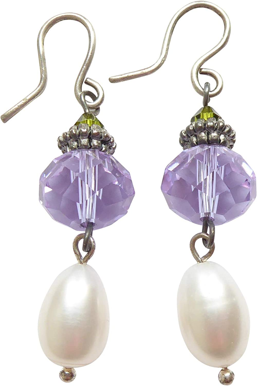 Ajola - Pendientes elegantes de perla de agua dulce, color blanco, piedra de cristal facetada, color lila, colgante, gancho de plata, hecho a mano